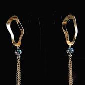 Серьги гвоздики длинные подвески цепочки перламутр под золото