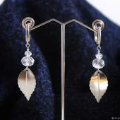Серьги-подвески листочки под серебро