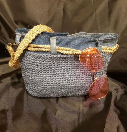 """Вязаная сумка из хлопкового шнура """"Джинс"""" с молнией ручной работы на заказ"""