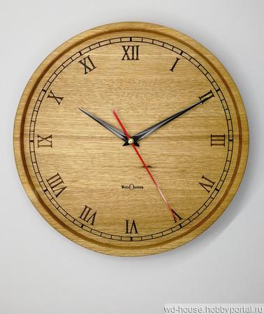 Часы настенные из дуба. ЧД6 ручной работы на заказ