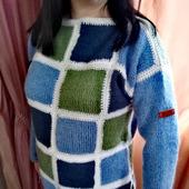 """Пуловер в технике """"лоскутное одеяло"""""""