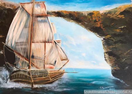 """Картина """"Пиратский корабль"""" ручной работы на заказ"""