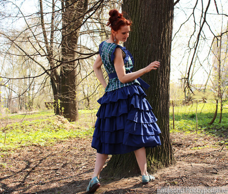 Летний комплект из хлопка (юбка и блузка) ручной работы на заказ