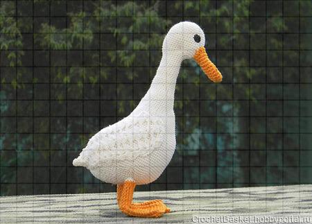Вязаная игрушка «Белая утка» ручной работы на заказ