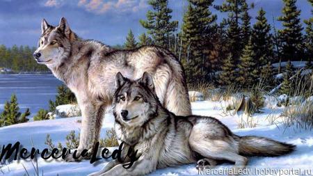 """Схема вышивки крестом """"Волки"""" ручной работы на заказ"""