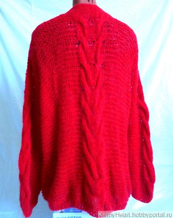 Вязаный кардиган из кид-мохера красный ручной работы на заказ