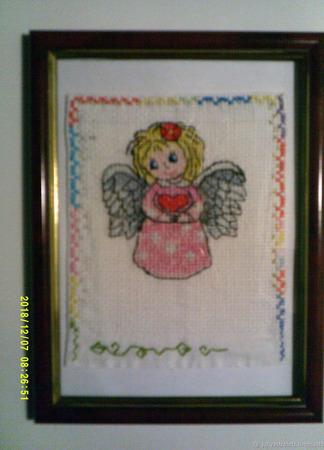 """Вышитая картина """"Ангел"""" ручной работы на заказ"""