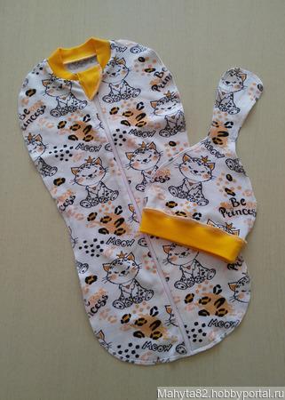 Пеленка-кокон и шапочка-редиска для новорожденной ручной работы на заказ