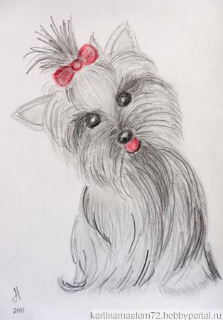 """Рисунок карандашами """"Собачка"""" ручной работы на заказ"""