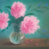 """Картина пастелью """"Пионы в вазе"""""""