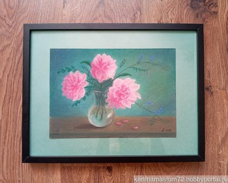 """Картина пастелью """"Пионы в вазе"""" ручной работы на заказ"""