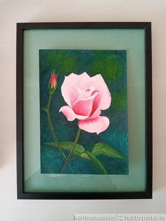 """Картина гуашью """"Роза"""" ручной работы на заказ"""