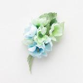 Брошь нежный букетик цветов из хлопка, голубая салатовая