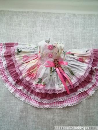 """Платье для куклы """"Розовый котенок"""" ручной работы на заказ"""
