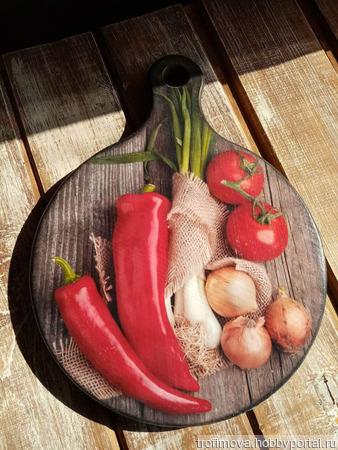 """Кухонная досточка """" Овощи"""" ручной работы на заказ"""