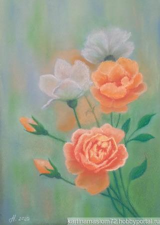 """Картина пастелью """"Букет роз"""" ручной работы на заказ"""