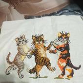 """Вышивка крестиком """"Танцующие коты"""""""