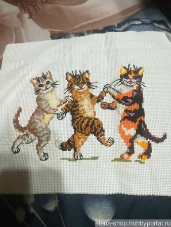 """Вышивка крестиком """"Танцующие коты"""" ручной работы на заказ"""