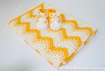 """Комплект """"Желтый градиент"""" (плед+пинетки) ручной работы на заказ"""