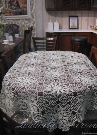 """Вязаная скатерть """"Восхищение"""" на овальный стол ручной работы на заказ"""