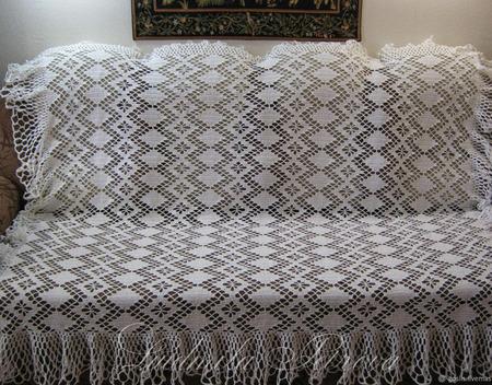 """Плед-покрывало """"Винтаж"""" вязаный на диван ручной работы на заказ"""