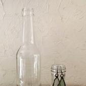 Бутылка прозрачное стекло средний размер