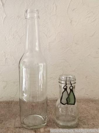 Бутылка прозрачное стекло средний размер ручной работы на заказ