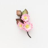 Брошь букетик цветов небольшой розовый из фоамирана
