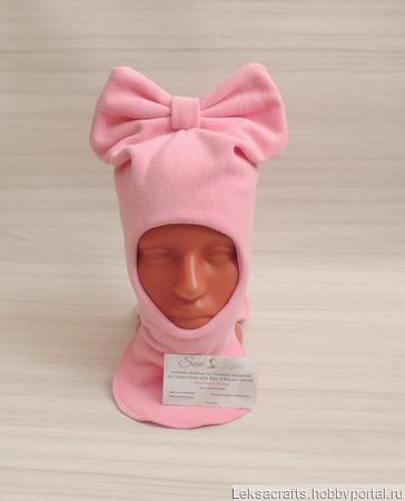 Шапка шлем с бантом для девочки ручной работы на заказ