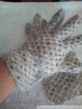 Перчатки ажурные козий пух серый ручной работы на заказ