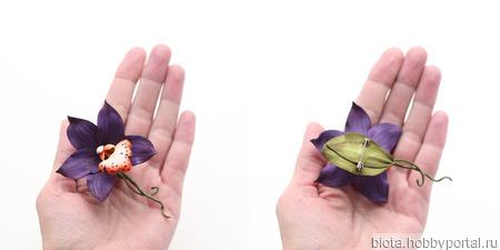 Брошь орхидея цветок горчичный фиолетовый из фоамирана ручной работы на заказ