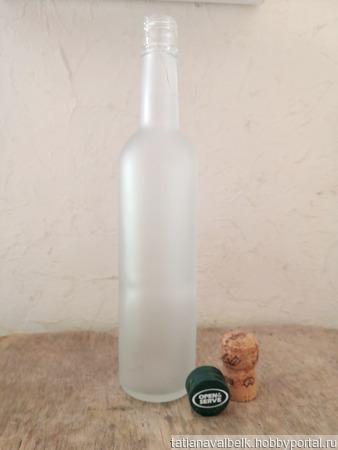 Бутылка матовое белое стекло с крышкой ручной работы на заказ