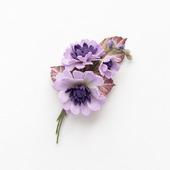 Брошь букетик сиреневых цветов из фоамирана