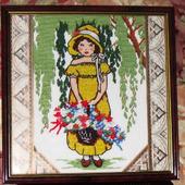 Вышитая крестом картина «Прогулка по саду»