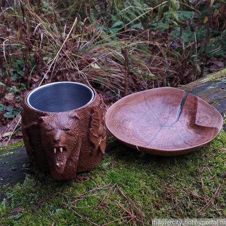 Кружка и тарелочка из дуба ручной работы на заказ
