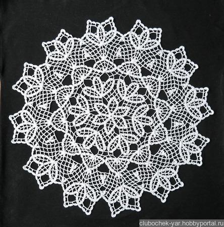 """Салфетка вязаная """"Белые цветы"""" ручной работы на заказ"""