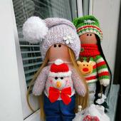 Интерьерная куколка снеговик
