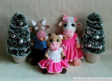 Вязаная семья (бычок, коровка, теленок) - ручная работа ручной работы на заказ