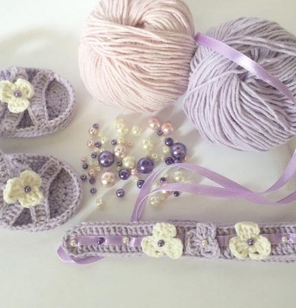 Пинетки и повязка на голову для маленькой принцессы ручной работы на заказ