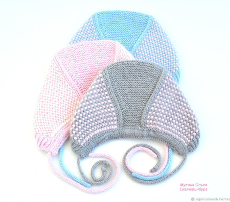 Чепчики тёплые вязаные для девочек ручной работы на заказ