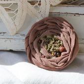 Брошь из винтажного шелка «Старый сад. Пион»