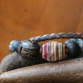 Сет браслетов из камней и кожи «Ройбуш с шоколадом»