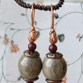 Серьги деревянные с мукаитом «Марго»