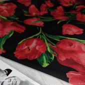 """Нежный шифон набивной """"Розы красные на черном"""""""