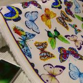 """Плательная ткань супер-софт """"Бабочки мультиколор на белом"""""""