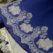 """Джинс рубашечный сине-голубой """"Вышивка белая"""""""