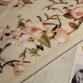 """Плательная ткань супер-софт """"Орхидеи на кремовом"""""""