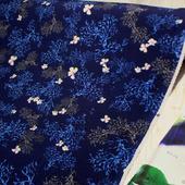 """Плательная ткань супер-софт """"Кораллы на темно-синем"""""""