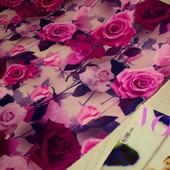 """Плательная ткань супер-софт """"3D розы оттенки фуксии"""""""