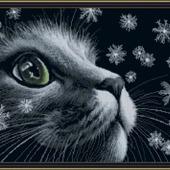 """Авторская схема для вышивки крестом """"Кот и снежинки"""""""